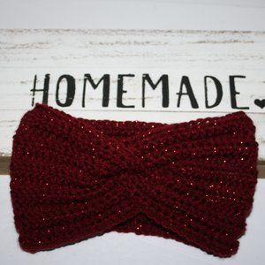 Sparkling Red Twisted ear warmer headband Crochet